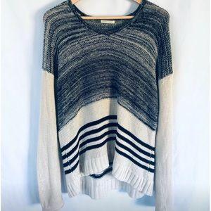 White + Warren Boxy Knit Stripe Sweater, Size M